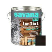 Lac pentru lemn, Savana 3 in 1 - garduri si cabane, wenge, pe baza de apa, interior / exterior, 2.5 L