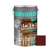 Lac pentru lemn, Savana 3 in 1 - garduri si cabane, mahon, pe baza de apa, interior / exterior, 5 L