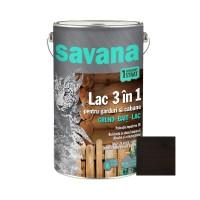 Lac pentru lemn, Savana 3 in 1 - garduri si cabane, wenge, pe baza de apa, interior / exterior, 5 L
