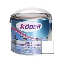 Vopsea alchidica pentru metal Kober 3 in 1, interior / exterior, alb, 2.5 L