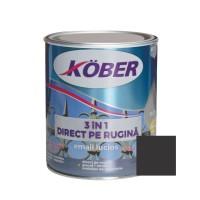 Vopsea alchidica pentru metal Kober 3 in 1, interior / exterior, negru, 0.75 L