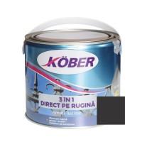 Vopsea alchidica pentru metal Kober 3 in 1, interior / exterior, negru, 2.5 L