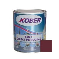 Vopsea alchidica pentru metal Kober 3 in 1, interior / exterior, rosu vin, 0.75 L