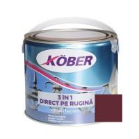Vopsea alchidica pentru metal Kober 3 in 1, interior / exterior, rosu vin, 2.5 L