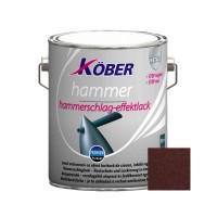 Vopsea alchidica pentru metal Kober Hammer, efect lovitura de ciocan, interior / exterior, brun E81785, 2.5 L