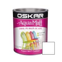 Vopsea pentru lemn / metal, Oskar Aqua Matt, interior / exterior, pe baza de apa, alb contemporan, 0.6 L