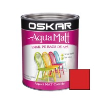 Vopsea pentru lemn / metal, Oskar Aqua Matt, interior / exterior, pe baza de apa, rosie, 0.6 L