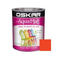 Vopsea pentru lemn / metal, Oskar Aqua Matt, interior / exterior, pe baza de apa, portocaliu / orange glamour, 0.6 L