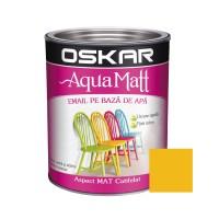 Vopsea pentru lemn / metal, Oskar Aqua Matt, interior / exterior, pe baza de apa, galbena, 0.6 L