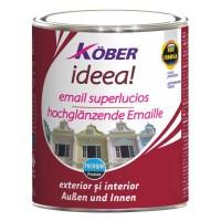 Vopsea alchidica pentru lemn / metal, Kober, interior / exterior, neagra, 4 L