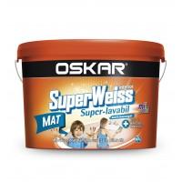 Vopsea superlavabila interior, Oskar Superweiss, alba, 2.5 L