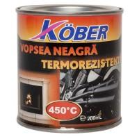 Vopsea siliconica termorezistenta Kober, neagra, 0.2 L