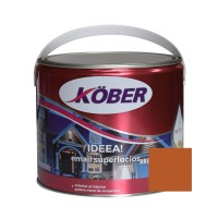 Vopsea alchidica pentru lemn / metal, Kober Ideea, interior / exterior, maro / brun orange RAL 8023, 2.5 L