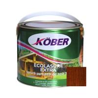 Lac / lazura 3 in 1 pentru lemn, Kober Ecolasure Extra, castan, pe baza de apa, interior / exterior, 2.5 L