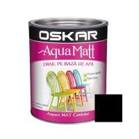 Vopsea pentru lemn / metal, Oskar Aqua Matt, interior / exterior, pe baza de apa, negru, 0.6 L