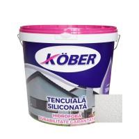 Tencuiala decorativa siliconata Kober Profesional, 1.5 mm, structurata, aspect bob de orez, alba, interior / exterior, 25 kg