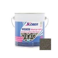 Vopsea alchidica pentru metal Kober Micaceu, efect fier forjat, interior / exterior, maro / brun fumuriu, 2.5 L