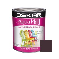 Vopsea pentru lemn / metal, Oskar Aqua Matt, interior / exterior, pe baza de apa, maro, 2.5 L