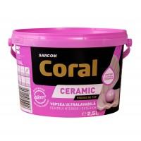 Vopsea ultralavabila, interior / exterior, Coral Ceramic, alba, 2.5 L