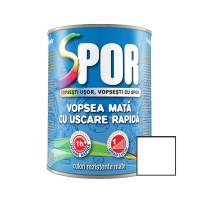 Vopsea alchidica pentru metal Spor, interior / exterior, alb mat, 0.75 L