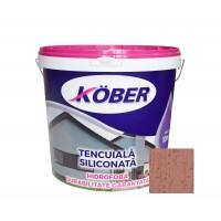 Tencuiala decorativa siliconata Kober Profesional, 1.5 mm, structurata, aspect scoarta de copac, arabica, interior / exterior, 25 kg