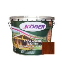 Lac / lazura 3 in 1 pentru lemn, Kober Ecolasure Extra, castan, pe baza de apa, interior / exterior, 10 L