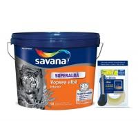 Vopsea superlavabila interior, Savana, alba, 15 L + kit protectie cadou