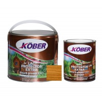 Lac / lazura groasa pentru lemn, Kober Extra 3 in 1, salcam, interior / exterior, 2.5 L + 0.75 L