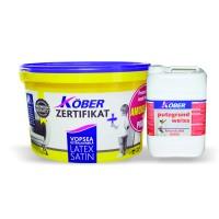 Vopsea ultralavabila interior, Kober Zertifikat Satin Latex, alba, 8.5 L + amorsa 4 L