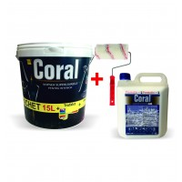 Vopsea superlavabila interior, Coral, alba, 15 L + amorsa Coral 4 L + trafalet