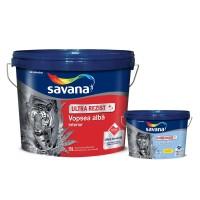 Vopsea lavabila interior cu Teflon, Savana Ultra Rezist, alb, 15 L + vopsea superlavabila pentru baie si bucatarie cu Teflon, Savana, alb, 2 L