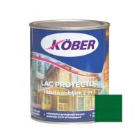 Lac / lazura subtire 2 in 1 pentru lemn, Kober, verde brad, interior / exterior, 0.75 L
