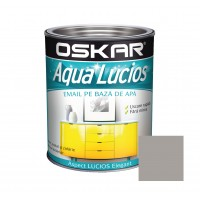 Vopsea pentru lemn / metal, Oskar Aqua Lucios, interior / exterior, pe baza de apa, gri nordic, 0.6 L