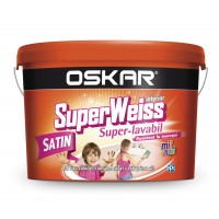 Vopsea superlavabila interior, Oskar Superweiss Satin, rezistenta la mucegai, alb, 2.5 L