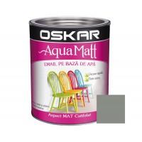 Vopsea pentru lemn / metal, Oskar Aqua Matt, interior / exterior, pe baza de apa, gri scandinav, 0.6 L