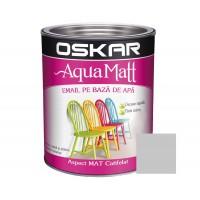 Vopsea pentru lemn / metal, Oskar Aqua Matt, interior / exterior, pe baza de apa, gri urban, 0.6 L