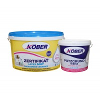 Vopsea ultralavabila interior / exterior, Kober Zertifikat Latex Mat, alba, 8.5 L + amorsa 4 L