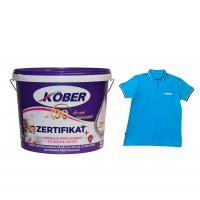 Vopsea lavabila interior, Kober Zertifikat Plus, alba, 15 L + tricou cadou