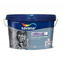 Vopsea superlavabila cu latex, interior, Savana, alb mat, 2.5 L