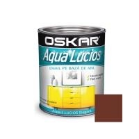 Vopsea pentru lemn / metal, Oskar Aqua Lucios, interior / exterior, pe baza de apa, maro terra, 0.6 L