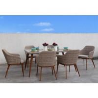 Set masa cu 6 scaune cu perne pentru gradina Bali din metal cu ratan sintetic