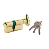 Cilindru de siguranta centrat, alama natur, buton cu 3 chei, L60 30 x 30 mm UNI