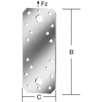 Element de imbinare plat, pentru constructii din lemn, din otel zincat, 96 x 35 mm