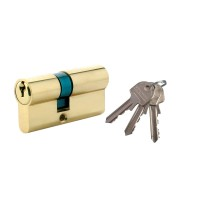 Cilindru de siguranta descentrat, alama natur, standard 3 chei,  L70 30 x 40 mm UNI