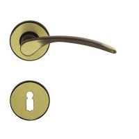 Maner cu rozeta pentru usa interior Vienetta Verofer BB, zamac, bronz grafiat, D = 50 mm