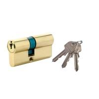 Cilindru de siguranta descentrat, alama natur, standard 3 chei, L80 35 x 45 mm UNI