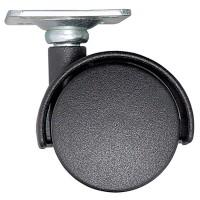 Rotila pentru mobila, plastic negru, cu placa, diametru 50 mm