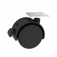 Rotila pentru mobila, plastic negru, cu placa, cu blocare, diametru 50 mm
