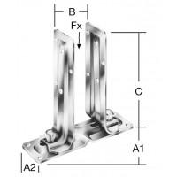 Papuc reazem din tabla de otel zincat, reglabil, 215 - 60  x 0 - 90 x 205 mm