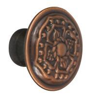 Buton pentru mobila, metalic, cupru antic, 30 x 22 mm